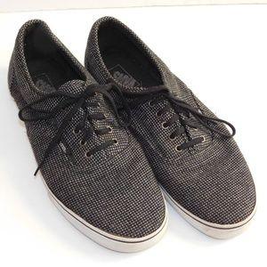 EUC Men's Black/Gray Plaid Vans Authentic Sneakers